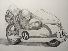Chris Vincent & John Robinson, BSA 650 at Brands Hatch, circa 1964. by Tom Dudones, 14x17, pencil, completed nov 13, 2014