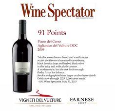 Il nostro #Aglianico #PianodelCerro guadagna 91 punti #WineSpectator! Our Aglianico Piano del Cerro gets 91 points Wine Spectator!