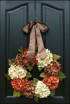 Fall/Halloween front porch/door ideas.  Inspiration.  Wreath idea.