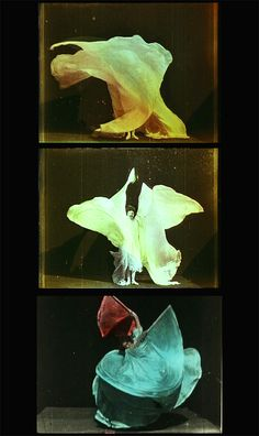 Picasso came to Paris at age 20 to attend the Exposition Universal of 1900...and Loie Fuller dancing with sails of fabric on which colored light was projected. But the most important event was the exhibition of moving pictures projected on a 10 x 10 meter screen by the Lumiere brothers...