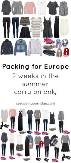 Packing for Europe - 2 Weeks in the Summer - Carry On Only | See You In A Porridge #travelpackingchecklist #Packinglists