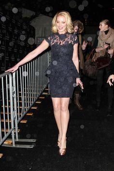 Katherine Heigl long legs in a mini dress and stilettos