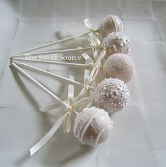Premium Wedding Cake Pops Made to Order with High Quality Ingredients. $22.00 per dozen, via Etsy.