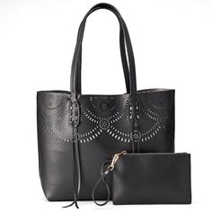 Mellow World Brooklyn Reversible Perforated Tote with Pouch, Black
