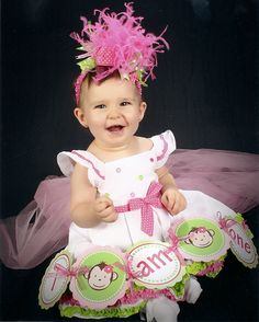 Hot Pink and Lime Over The Top Bow on by loveablebabyboutique, via Etsy.