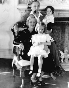 Dolores Costello and John Barrymore with their two children, one of whom was John Drew Barrymore, actress Drew Barrymore's father and his namesake. Costello and Barrymore were a golden film couple, but Barrymore's alcoholism took its toll; they divorced in 1934, the same year this picture was taken.