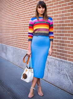 Spring Fashion What to Wear on a First Date Stripe Sweater and Blue Skirt First Date Outfits, Cool Outfits, Winter Outfits, Skirt Outfits, Spring Fashion, Girl Fashion, Style Fashion, Fashion Addict, Fashion Tips
