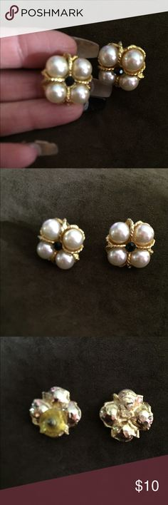 Lovely Square Pearl Pierced Earrings These are a very lovely gold tone, pearl and small black center stone. It was bought in Burdine's many years ago and wore them once. So pretty! Jewelry Earrings