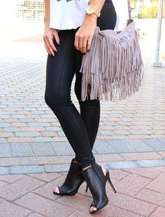 Grey fringe purse | Leather Leggings | peep toe booties