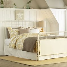 love the height of this wainscotting - excellent improvement to an upstairs bedroom with slanted walls!