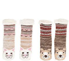 496c7455b8b MUK LUKS Critter Faux Shearling Cabin Socks Set of Two