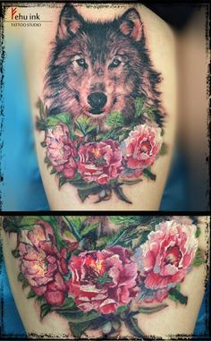 wolf tattoo flower - Google Search