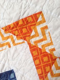 Modern Baby Boy Chevron Quilt Blue and Orange crib by RedOwlQuilts