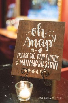 wedding signs personalized handwritten calligraphy sign for wedding decor oh snap Create A Wedding Hashtag, Wedding Hashtag Sign, Wood Wedding Signs, Wedding Signage, Hastag Wedding Sign, Wood Wedding Decorations, Wedding Favors Cheap, Wedding Crafts, Diy Wedding