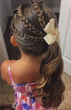 triple braid and pony little girl hairstyle #girlybowtique #bowtique #hairaccessories #girlybowtiquedotcom #kidsfashion #kidsaccessories