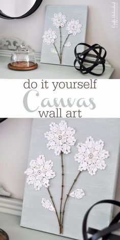 Shabby Chic Decor and Bedding Ideas - DIY Canvas Wall Art Flowers - Rustic and Romantic Vintage Bedroom, Living Room and Kitchen Country Cottage Furniture and Home Decor Ideas. Step by Step Tutorials and Instructions http://diyjoy.com/diy-shabby-chic-decor-bedding