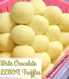 Lemon Recipes, Sweet Recipes, Baking Recipes, Lemon Truffles, Cake Truffles, Candy Recipes, Dessert Recipes, White Chocolate Truffles, Bonbon