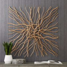 Albright Gold Metal 39 x Wall Art -How to Incorporate Nature into your Home Decor – Loving the Simple ThingsLayered and overlapping gold stems create an eye-catching modern look in this metal wall art style. Style # at Lamps Plus.