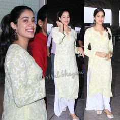 today morning at the airport as she left for for promotions Chiffon Saree, Saree Dress, Indian Bollywood, Bollywood Fashion, Bandhni Suits, Indian Dresses, Indian Outfits, Casual Indian Fashion, Salwar Kurta