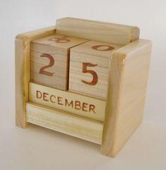 Perpetual Desk Calendar Wooden Block by 2HeartsDesire on Etsy, $25.00