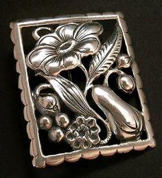 Sale Vintage STERLING Silver Brooch Art Nouveau FLOWER Fruit Repoussé Open-Work 14.6 Grams