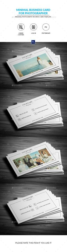 Minimal Wedding Photography Business Card Template PSD. Download here: http://graphicriver.net/item/minimal-wedding-photography-business-card/14841475?ref=ksioks #weddingphotography