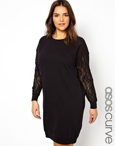 ASOS CURVE Exclusive Sweat Dress With Lace Sleeves