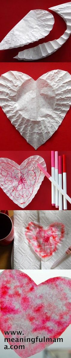 Looking for a great but simple Valentine's craft that will be fun for all kids - toddlers and beyond? This tie dye coffee filter Valentine Heart Craft is super easy and very enjoyable. Valentine Theme, Valentine Day Crafts, Valentine Heart, Holiday Crafts, Valentine Coffee, Daycare Crafts, Classroom Crafts, Preschool Crafts, Crafts For Kids