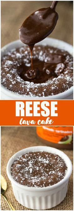 Reese Lava Cake - If you love sinfully rich chocolate with a hint of peanut butter, this recipe is for you! #BrownieCake Easy Desserts, Delicious Desserts, Dessert Recipes, Yummy Food, Healthy Desserts, Fun Food, Chocolate Lava, Chocolate Heaven, Chocolate Lovers