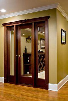 Modern Wooden Doors, Wooden Door Design, Sliding French Doors, French Doors Patio, Door Furniture, Home Decor Furniture, Single Main Door Designs, Living Room Partition Design, Home Wine Cellars