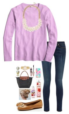 """""""Set for Olivia"""" by pandapeeper ❤ liked on Polyvore featuring rag & bone, J.Crew, Tory Burch, Longchamp, Lilly Pulitzer, Maybelline, Majorica and Kate Spade"""