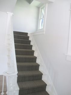 painted stairs with runner | WHITE + GOLD