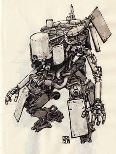 Zerog Mechs, Jan Buragay on ArtStation at https://www.artstation.com/artwork/e3wRZ?utm_campaign=digest&utm_medium=email&utm_source=email_digest_mailer
