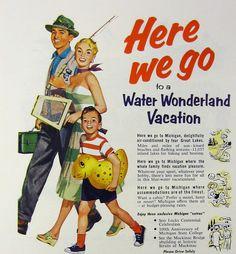 Vintage Michigan Travel Ad - Michigan Water Wonderland Vacation- 1950s, via Etsy.