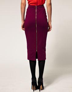 Выкройка юбки-карандаш с двумя рельефами и застежкой-молнией посередине переда