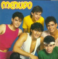 Menudo. This line-up is real familiar! I loved Charlie in white, Ray in green, Little Ricky Martin in yellow, in peach can't remember sorry. MY MAJOR crush is wearing red SERGIO GONZALES!!!<3