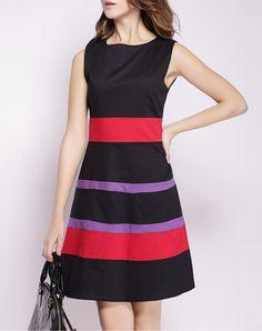 #AdoreWe #VIPme A-Line Dresses - YZXH Black Sleeveless Contrast Color High Waist Dress - AdoreWe.com