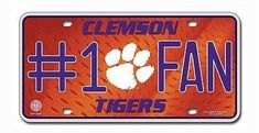 "CLEMSON TIGERS 6""x12"" METAL #1 FAN LICENSE PLATE CAR BRAND NEW SHIPPING"