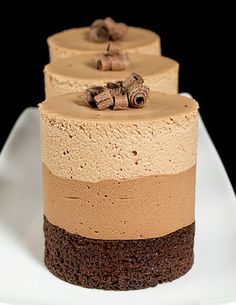 Impress guests with individual Triple Chocolate Mousse Cakes, perfect for entertaining. Find recipe for Triple Chocolate Mousse Cakes at Grace& Sweet Life. Food Cakes, Cupcake Cakes, Cupcakes, Mini Desserts, Delicious Desserts, Dessert Recipes, Gourmet Desserts, Eggless Desserts, Chocolate Lovers