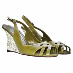 """NEW Manolo Blahnik green Slingback wedge size 6.5 Brand new Manolo Blahnik Slingback Wedge in Green, size EU 37 or US 6.5.  These run a bit smaller, and fit like a true 6.5.  * Crisscross detail over toe * Patterned slim wedge * 3.5"""" heel * Made in Italy  100% authentic.  *Please note that the shoes do not include a shoe box or dust bag and have a black line through the label. Manolo Blahnik Shoes Wedges"""