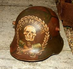 trench art helmets WWI stormtrooper