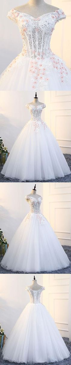 2018 New Evening Gowns | White tulle off shoulder prom gown wedding dress with cap sleeves #promdresses #weddingdresses #weddings #homecomingdresses