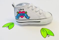 a6cc1e1d419b2e Baby Shoes  Baby Converse  Love mom Shoes  Hand painted Baby Shoes  Cute