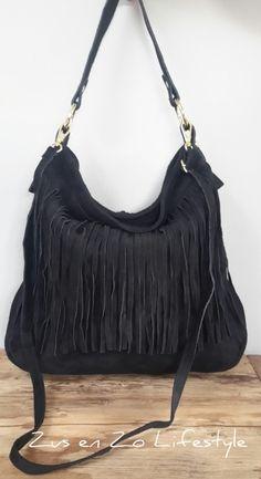 fc3dd85ced2 Boho Ibiza franje tas groot zwart   Tassen echt leer   Zus & Zo Lifestyle