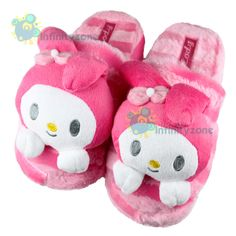 """NEW Sanrio My """"Melody"""" Cute Plush Home Bedroom Women Slipper Shoes... I remember when I was younger I had Hello Kitty slippers lol"""
