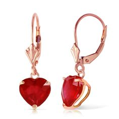 2.9 CTW 14k Solid Rose Gold Leverback Earrings with Natural Heart-shaped Ruby. Manufacturer's appraisal is available upon request. Item comes with tag without retail price. Tag with retail price is available upon request. Gemstone is natural and may vary in color. Picture may appear bigger than the actual item. Please read the product description and specifications. Available in Yellow, White and Rose Gold. Elegantly presented in a black velvet jewelry box. Made in USA.