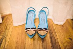 Something blue wedding shoes by Vivienne Westwood. Wedding Photographer: Paper Antler