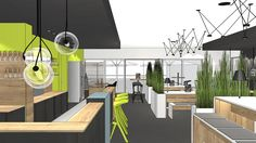 Setting up a cafeteria - A cafeteria can also look completely different and remind you of a bar. Office Interior Design, Office Interiors, Lounge, Co Working, Break Room, Modern, Public Spaces, Inspiration, Room Ideas