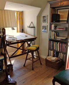 Small but cheerful office. Slanted roof. Kristen Buckingham