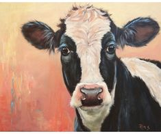 Farm Animals Pictures, Cow Pictures, Lion Painting, Painting & Drawing, Easy Paintings, Animal Paintings, Holstein Cows, Farm Art, Cute Cows